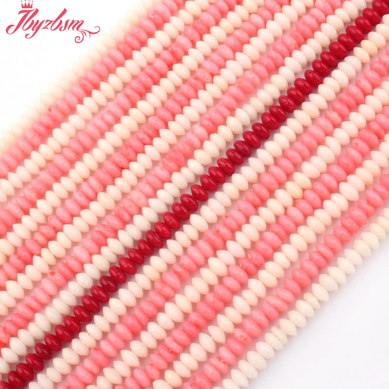 <font><b>2x4mm</b></font> Smooth Rondelle Coral Beads Natural Stone Beads For DIY Necklace Bracelets Earring Jewelry Making Loose 15