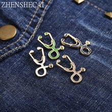 High Quality 4 Style Brooches Doctor Nurse Stethoscope Brooch Medical Jewelry Enamel Pin Denim Jackets Collar Badge Pins Button(China)