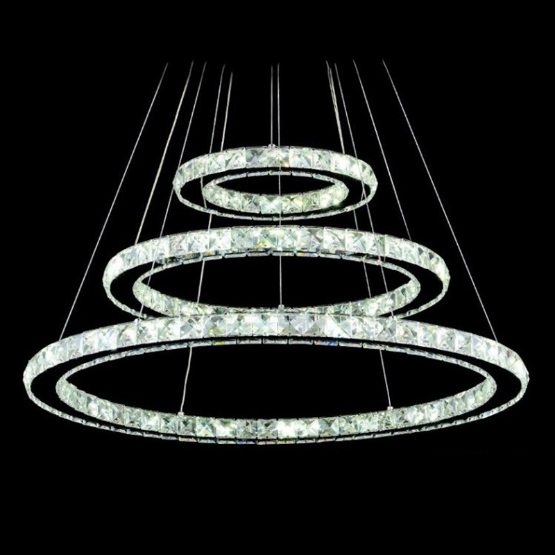 Led 3 Ring Chandelier: 3 Rings LED Crystal Chandeliers Lights Round Ring Hanging
