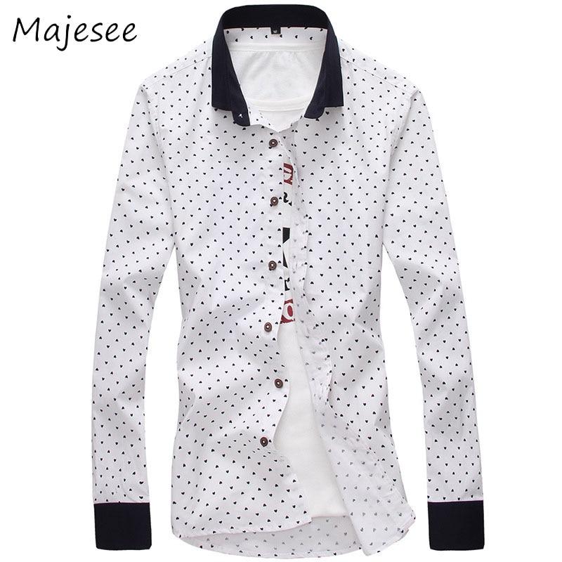 Polka Dot Mens Causal Shirts Men Long Sleeved Shirt Male Single Breasted European Style Trendy Breathable Soft Slim New Fashion