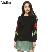 Women Embroidery floral black White sweatshirts long sleeve elegant warm winter pullover vintage O-neck casual tops SW901