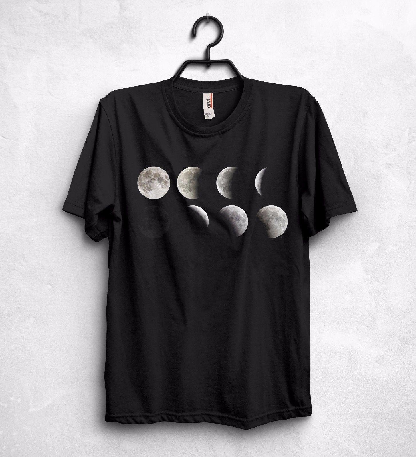 Varie Fasi Lunari Luna T Shirt Top Scienza Geek Nerd Regalo Astronomia Spazio Cotone T-Shirt Moda Spedizione Gratuita