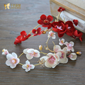 Sweet Flower hairgrips handmade women hairclips forehead crystal hairwear fascinator pearl jewelry party wedding accessories QY0
