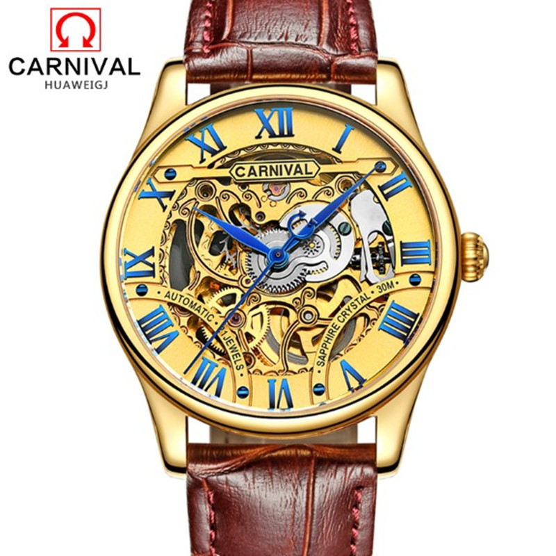 2016 Carnival hollow out full steel Mens Watches military tourbillon Luxury Brand Sapphire Waterproof Automatic Mechanical Watch 2017 carnival luxury brand mechanical watch women leather bracelet waterproof sapphire mirror stainless steel automatic watches