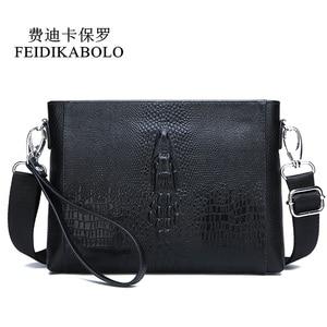 Image 1 - FEIDIKABOLO sac à bandoulière en cuir véritable pour hommes, petits sacs à bandoulière, sacs à main, pochette