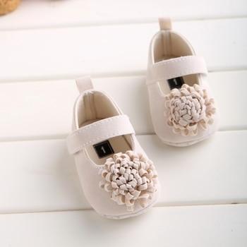 Candy Colors Newborn Baby Prewalker Soft Bottom Anti-slip Shoes Footwear Classic Princess Girl Crib Mary Jane Big Flower Shoes 2