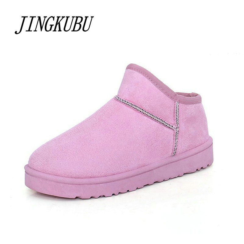 JINGKUBU 2017 Winter Shoes Warm Plush Snow Boots Women Round Toe Solid Slip-on Ankle Boots For Women's zapatos mujer Femmes L678 zapatos mujer botas femmes chaussure women ankle boots luxury brand short booties round toe star runway cool warm brand shoes