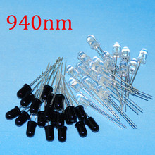 цена на 40pcs 5mm 940nm IR LEDs Infrared Emitter And IR Receiver Diode 20pairs Diodes 5mm 940nm IR Infrared LED Diode LED Lamp