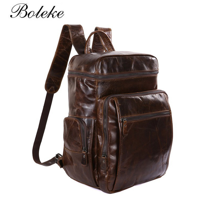 100% Brand Cowhide Genuine Leather Backpack Men Oil Wax Travel Backpack  Real Leather School Bag Weekend Overnight Bag 7202 fca58b94299b