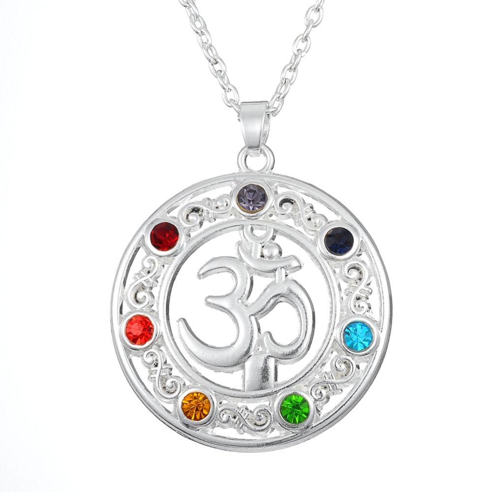 my shape 7 Chakra Healing Gem Stone Round Shaped Yoga Symbol Ohm Charm Pendant Necklace Jewelry