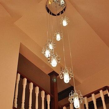 ZYY современный E14 светодиодный лестничные светильники соединение вращения Кристалл Подвесная лампа для спальни ресторан освещение приспос...