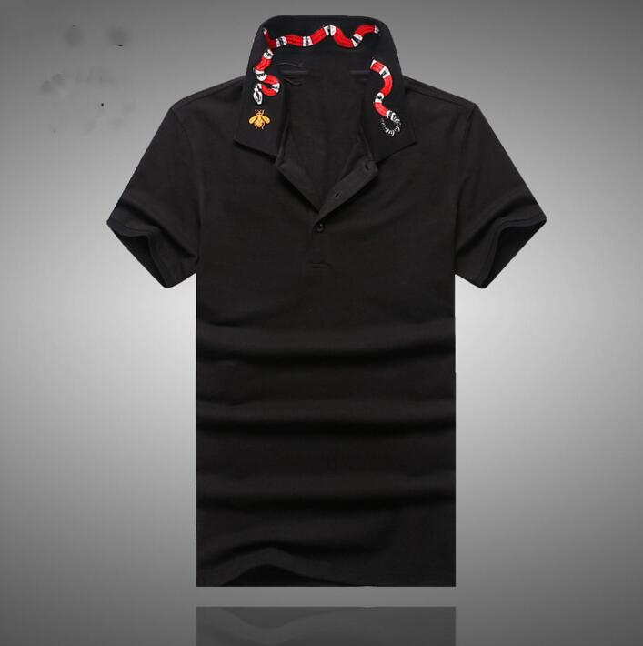 High New Novelty 2017 Men collar Embroidered Red Snake Fashion   Polo   Shirts Shirt Hip Hop Skateboard Cotton   Polos   Top Tee #B95