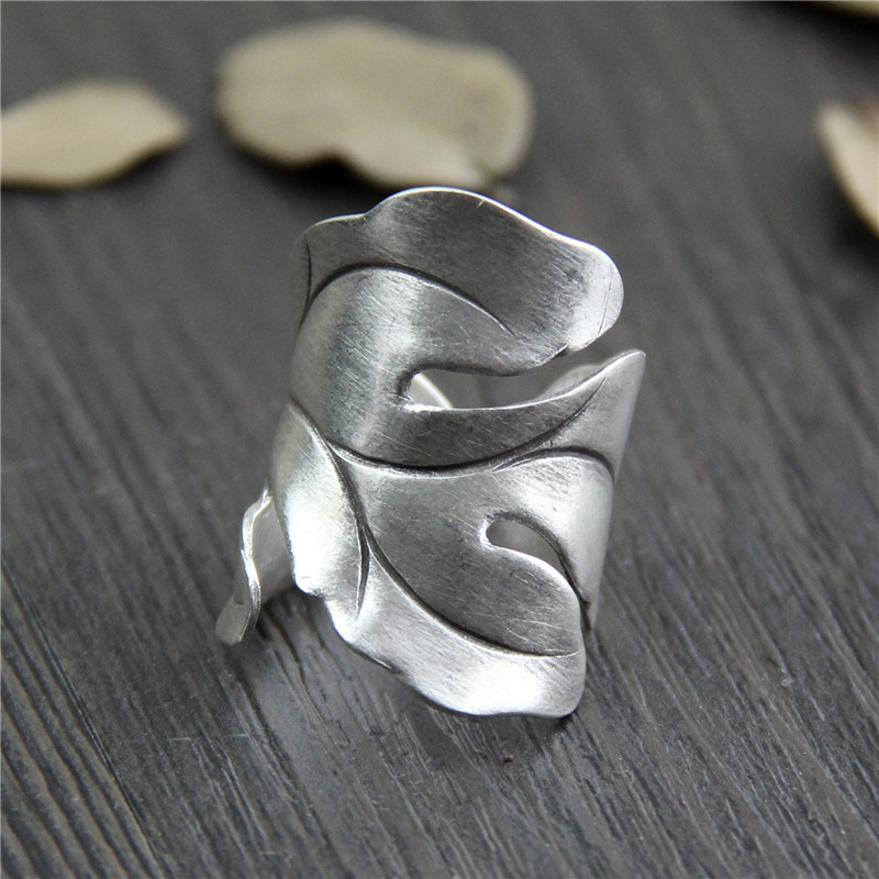 Handmade 999 Pure Silver Exaggerated Rings Hollow Flower Leaf Shaped Fine Jewelry Sterling Silver Rings For Women handmade stripe pattern exaggerated flower leaves rings wide real pure 999 sterling silver rings for women lady vintage jewelry