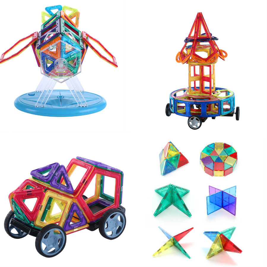 145PCS  Magnetic Blocks Toys Construction Model Magnetic Building Blocks Designer Kids Educational Toy For Children For Gift
