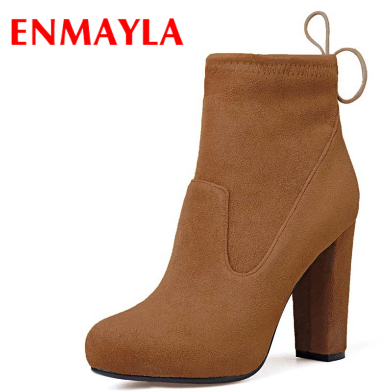 ENMAYLA New Fashion Winter Ankle Boots for Women Zippers Round Toe Square High Heels 3 Colors Lady Ankle Boots Large Size 34-39 enmayla ankle boots for women low heels autumn and winter boots shoes woman large size 34 43 round toe motorcycle boots