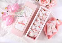 24*8*5cm Pink Flamingo sugar paper box ,candy biscuit drawer box,snacks Packaging gift square Boxes 100pcs/lot