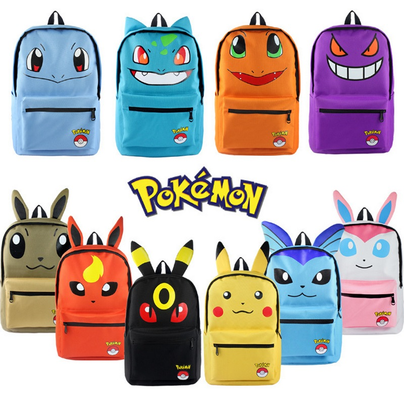 MeanCat Pokemon School Kawaii Backpack Pikachu Ibe Haunter Squirtle Charmander Bulbasaur Japan Figures Mochila Anime pokemon pikachu haunter eevee bulbasaur canvas backpack students shoulders bag pocket monster haunter schoolbags laptop bags