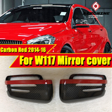 цена на W117 Carbon Fiber with Red Line Mirror cover For Mercedes CLA45AMG look Side door rear mirror cap covers 1:1 Replacement 2014-16