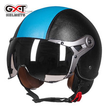 Casque moto G-288 GXT capacete de motocross couro genuíno retro vintage Harley motocicleta capacete cascos capacete aberto da cara