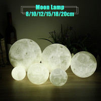 Novelty Color Changing Full Moon Lamp Wood Rack LED Night Light USB Rechargeable Desk Table Lamps