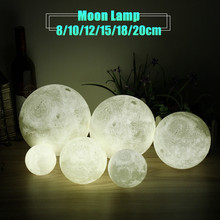 Novelty Color Changing Full Moon Lamp Wood Rack LED Night Light USB Rechargeable Desk Table Lamps Home Decor 8/10/12/15/18/20cm