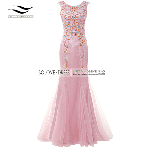 Элегантная ткань Накладка для кнопки рукав Кристалл бисером длинное платье выпускного вечера тюль русалка платье выпускного вечера Longo Vestido de festa(SLP-011 - Цвет: Pink