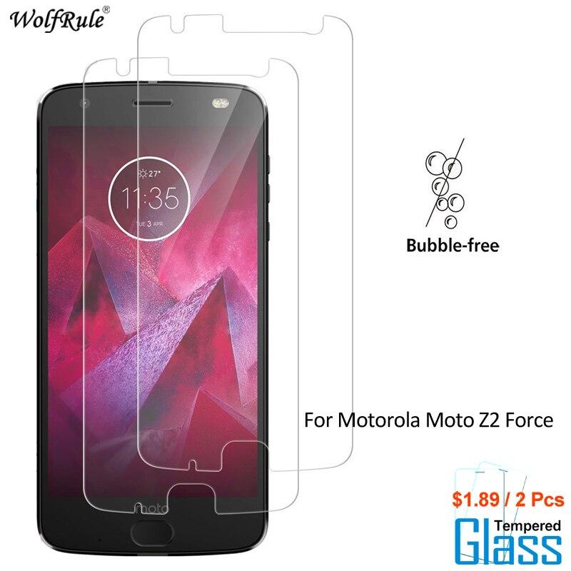 2Pcs For Glass Motorola Moto Z2 Force Screen Protector Tempered Glass For Motorola Moto Z2 Force Glass Phone Film WolfRule