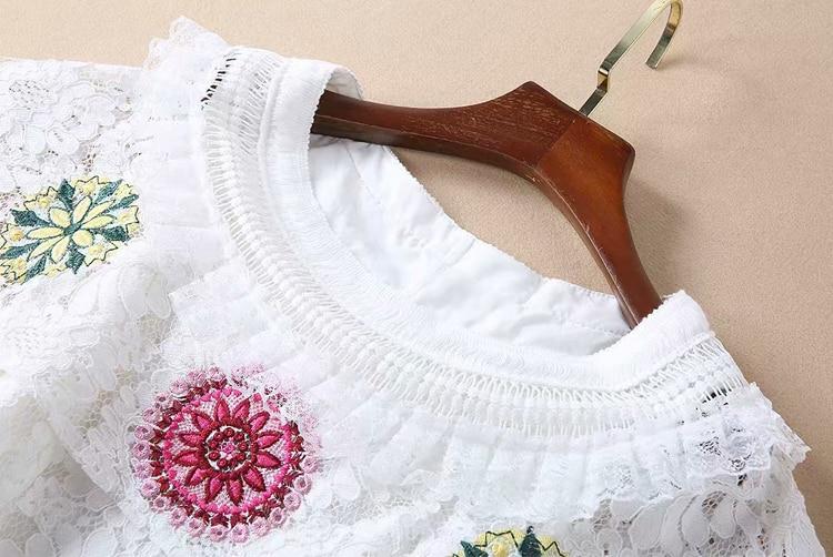 Robes À Goodlishowsi Blanc Summer New Courtes Élégantes Broderie Manches Dentelle AOp78Wq