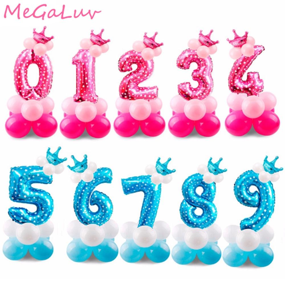 20 unids/set 1st 2nd 3st cumpleaños número de globos soporte para globos con corona azul Rosa Feliz cumpleaños Decoraciones de fiesta chico chica Golobs