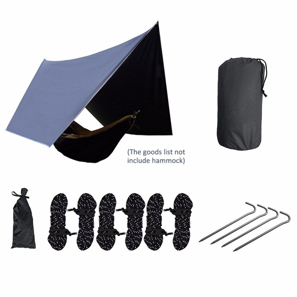 Ultra-Léger Plaid Tissu Hamac Pluie Fly Camping En Plein Air Auvent Étanche Anti-UV Protection Solaire Hamac Soleil Abri