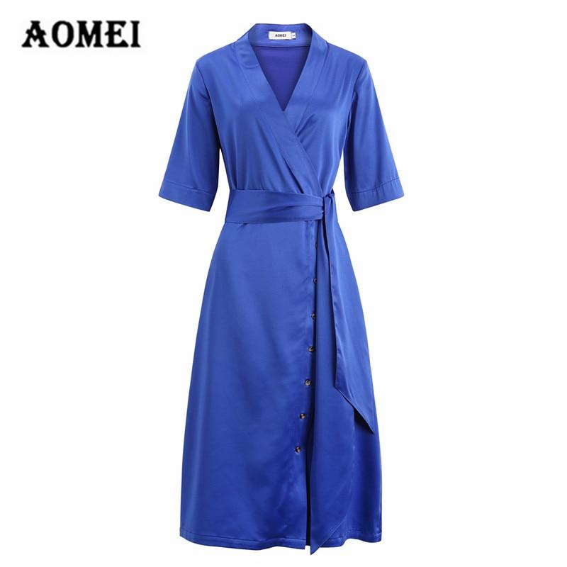 Mulher Meia Manga Vestido Azul Das Senhoras Da Moda A Linha de Cintura Alta com Caixilhos V Neck Casual Robes Cor Sólida Moda Primavera Verão
