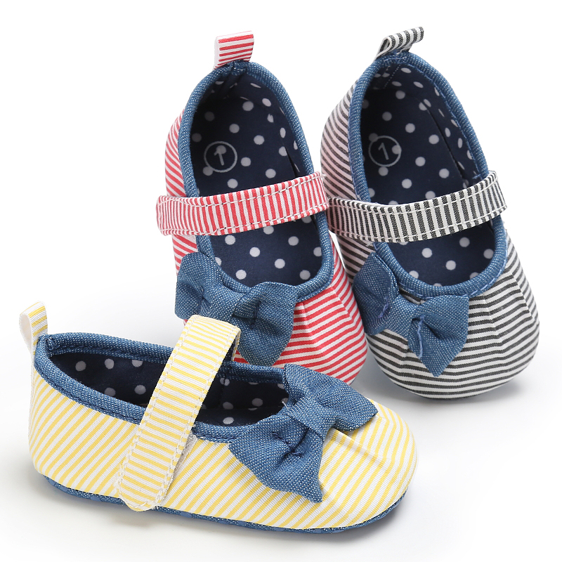 Newborn Baby infantil Toddler Princess Mary Jane Bow Striped Inner Polka Dot First Walkers Bebe Footwear baby girl shoes