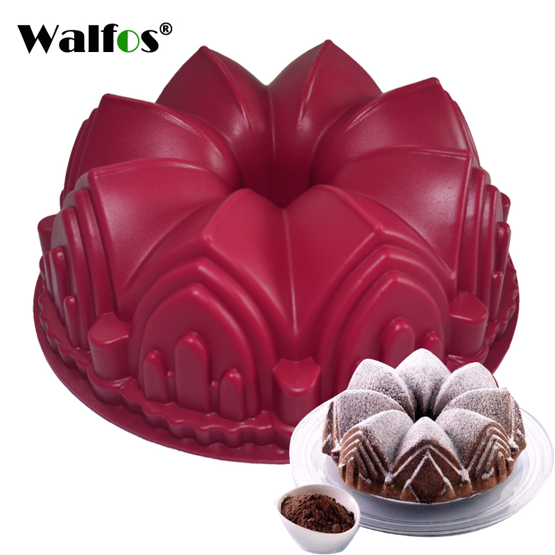 WALFOS 1PC Big Crown castle Silicone Cake Mold 3D Birthday Cake Pan Decorating Tools Large Bread Fondant DIY Baking Pastry Tool