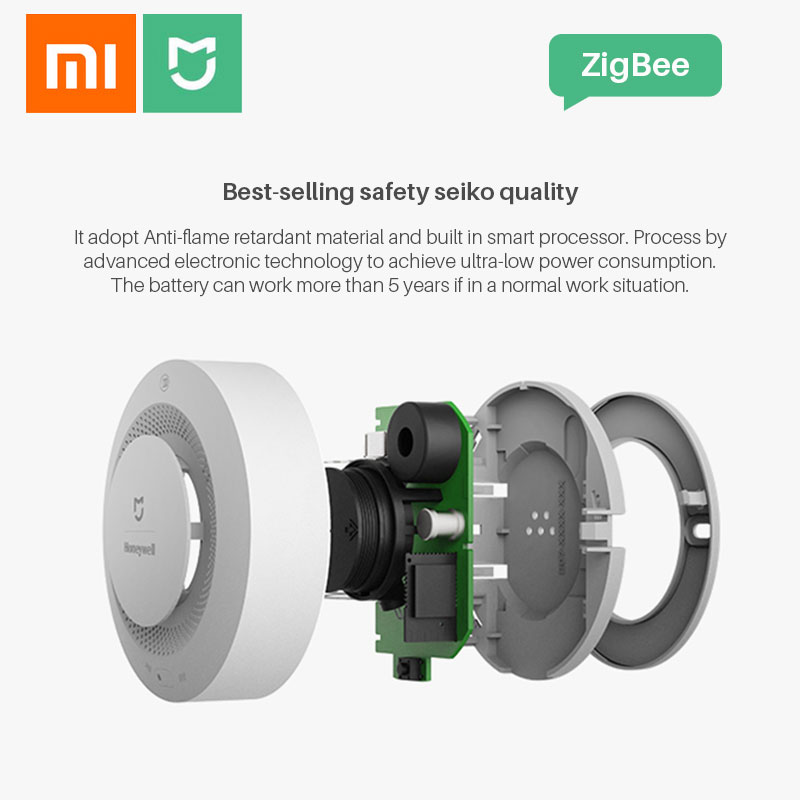 Image 3 - Xiaomi Smoke Detector Honeywell Sensor Mijia Fire Alarm Audible&Visual Alarm Work With Gateway 2 Smart Home Remote APP Control-in Smoke Detector from Security & Protection