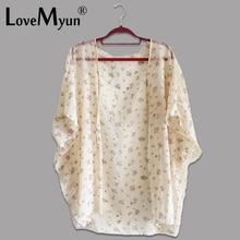 Купить с кэшбэком 2017 Kimono Cardigan summer Fashion Womens   Shawl Chiffon Flower Printed Blouses Ladies Tops thin The sea Kimono jacket