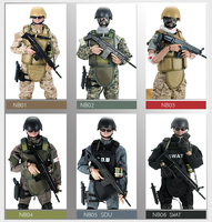 simulation military 12 inch army Wounded soldier Action figures 1/6 scale SWAT Gendarmerie seals with Rifle gun suit model toys