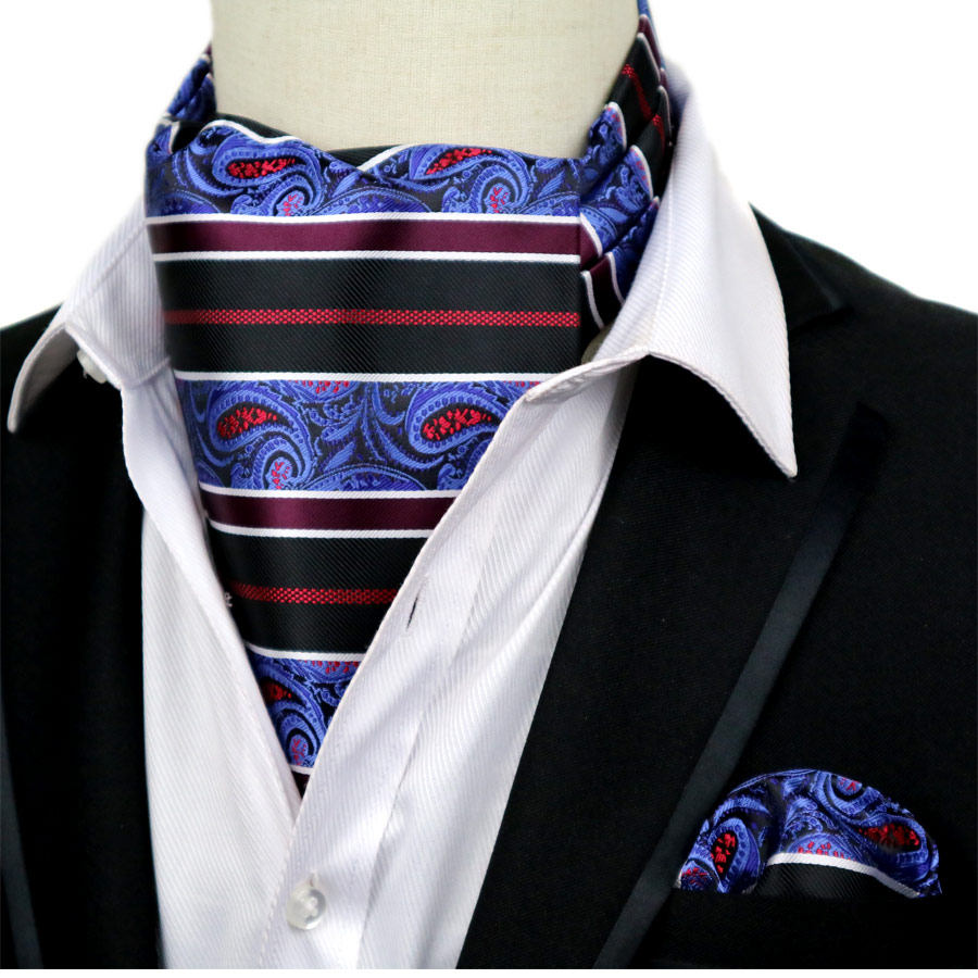 Cravat Ascot Red /& Black Paisley Cravat with matching hanky.