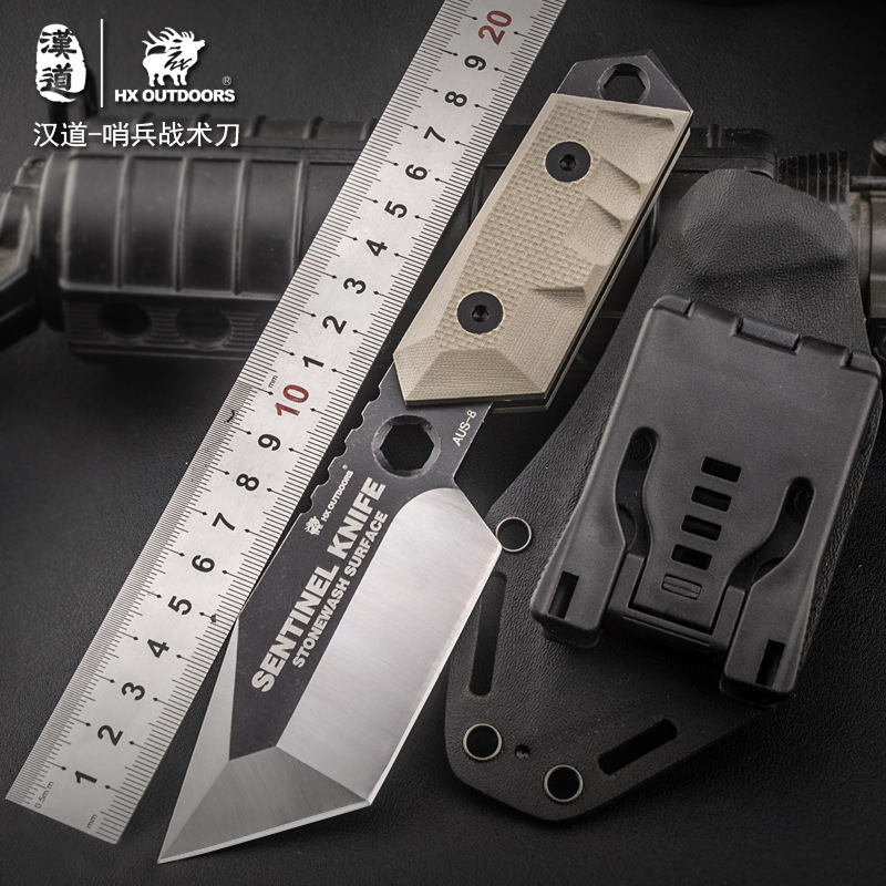 HX OUTDOORS AUS8 army Survival knife outdoor tools high hardness small straight knives essential tool for self-defense Favorites hx small mercenary survival hunting knife d2 steel blade fixed blade knife straight camping knives multi tactical hand tools