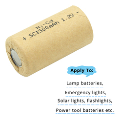 Power Cell Ni CD Ni-cd 1.2v Rechargeable Power Tool Battery Cell SC 1500mAh Discharge Rate 10C-15C