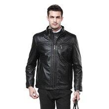 Real Sheepskin Leather Jacket Motorcycle Mens Black Jacket 9982