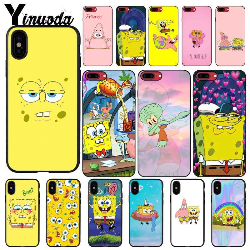Yinuoda SpongeBob SquarePants Sponge Bob Printing Drawing Phone Case for iPhone 8 7 6 6S Plus X XS MAX 5 5S SE XR 10 Cases