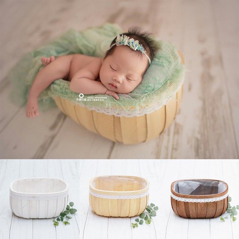 Baby Fotografie Props Houten Bed Tub Case Accessoire Baby Peuter Studio Schieten Foto Props Douche Gift Een Brede Selectie Kleuren En Motieven