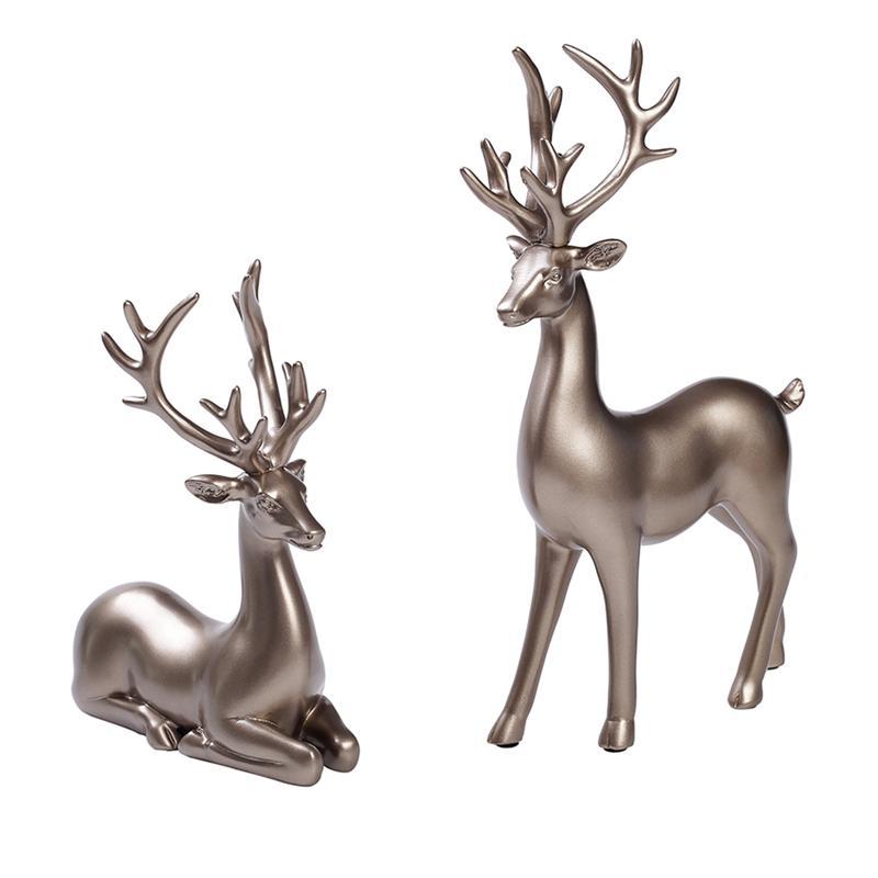 2pcs Artistic Resin Deer Decorations Elk Decor Classy Exqusite Aesthetic Figurine Craft Sculpture for Bedroom Office