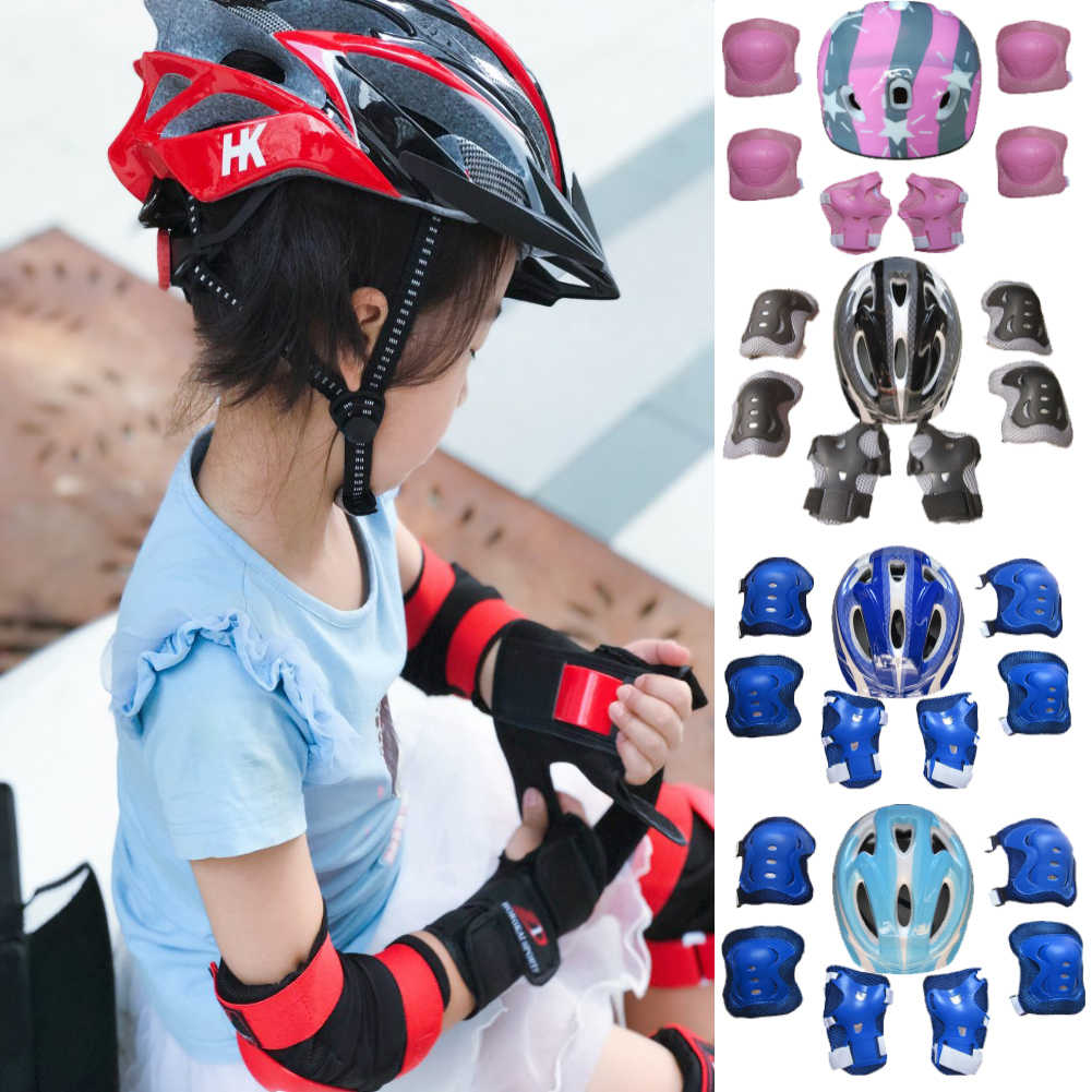 Boys Girl Kids Safety Hat Helmet & Knee & Elbow Pad Set For Cycling Skate Bike Protective With Knee Pads Elbow Pads Wrist Guards