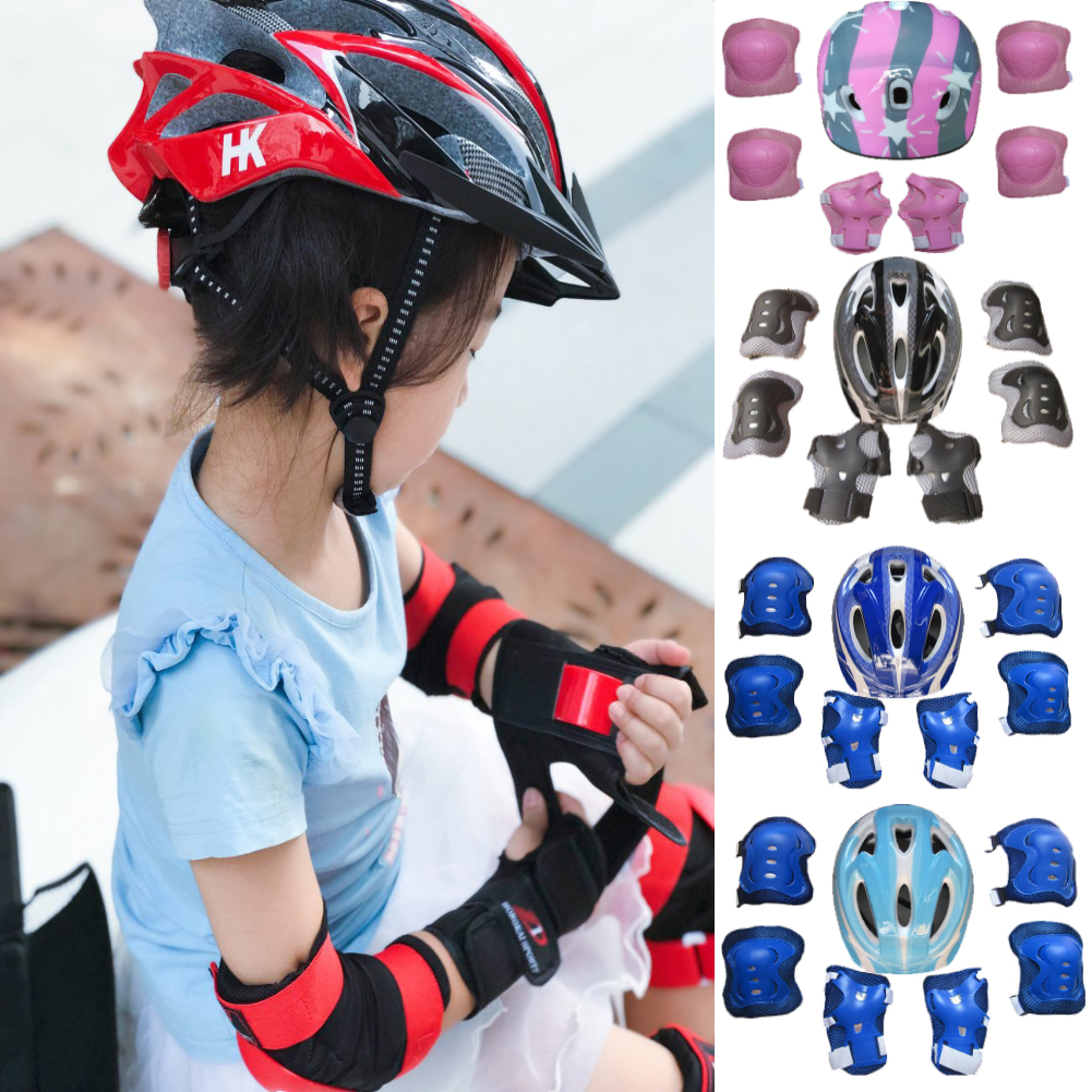 Kids Boy Girl Safety Helmet Knee Elbow Pad Sets For Cycling Skate Bike