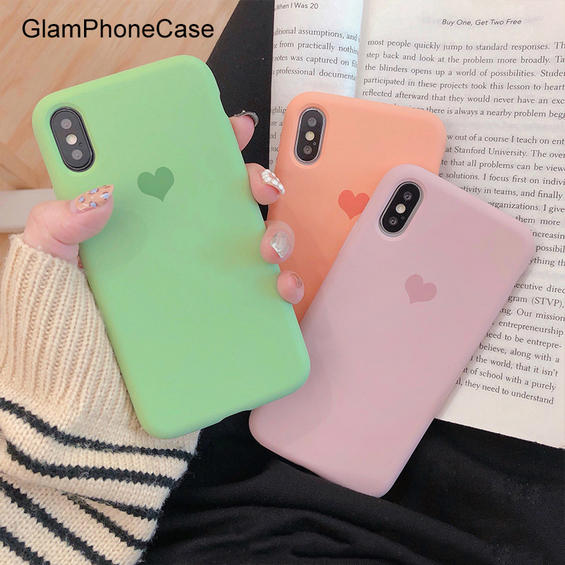 GlamPhoneCase Simple Solid Color Love Heart Phone Case For