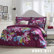 2016 New Bedding Set 100% Cotton Rose Red Big Flower Printing Quilt Covers Fashion Style 4pcs Home Textile Duvet Cover Set
