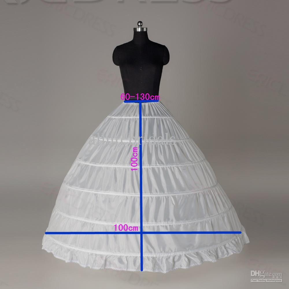 2017 High Quality Cheap White 6 Hoops Petticoats Plus Size