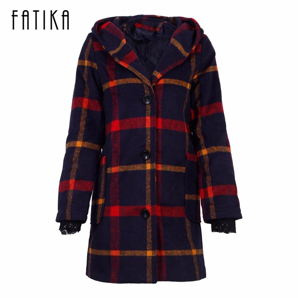 Fatika Осенне-зимнее пальто Для женщин классические шерсть красный зеленые клетчатые пальто с капюшоном женские Верхняя одежда ветровка Трен...