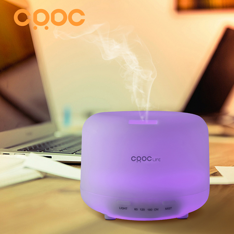 CRDC Aromatherapy Air Humidifier 500ml Ultrasonic Mist Essential Oil Diffuser Waterless Auto Shutoff 7 Color Dimmable LED Lamps